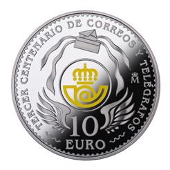 Los 300 años de Correos en 10 euros plata