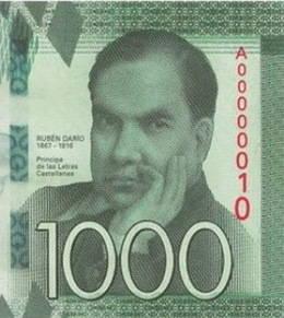 1.000 Córdobas para el poeta nicaragüense Rubén Darío