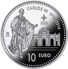 Carlos III en 10 euros plata