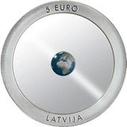 5 Euros de Letonia en cerámica transparente