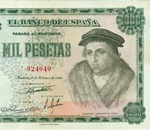 La Filosofía está de moda: Luis Vives en las 1.000 pesetas de 1946