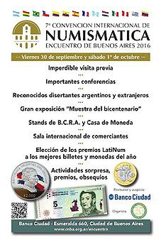 """VII Convención Internacional de Numismática """"Encuentro Buenos Aires 2016"""""""