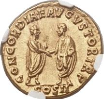 Áureo de Lucio Vero, una auténtica joya numismática a subasta en Long Beach