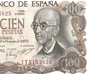 Manuel de Falla: el �ltimo billete de 100 pesetas