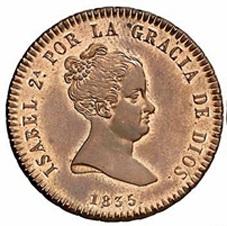 Primeros maravedís con leyenda monárquica (1835-1836)