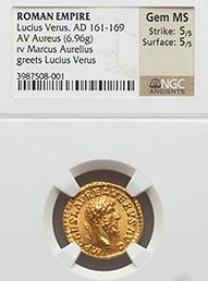 Heritage Auctions subasta el famoso áureo de Lucio Vero