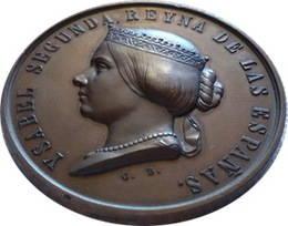 """Una medalla de Isabel II: Exposición universal de agricultura 1857 """"Expositor"""""""