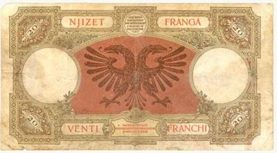 Italia 100 Liras 1935 vs. Albania 20 Frangas 1939