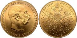 Las 100 coronas oro de Francisco José I de 1915