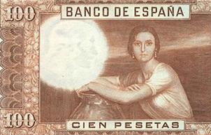 """El billete de 100 pesetas de 1953 y la """"Mujer Morena"""" de Julio Romero de Torres"""