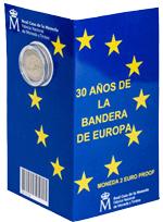"""Carteritas españolas con 2 euros para los """"30 Años de la Bandera de Europa"""""""