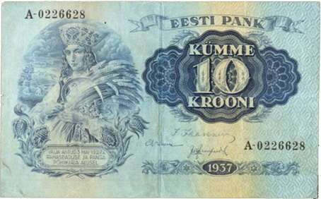 Estonia, serie de coronas de 1928-1937