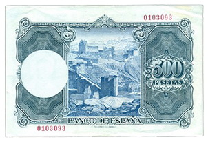Paisajes de Zuloaga, el billete de 500 pesetas de 1954