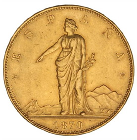 Las 100 pesetas oro del Gobierno Provisional en la subasta de Hervera, Soler&Llach por 130.000 euros