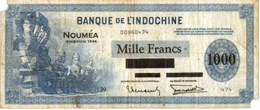 Indochina 100 Piastras de 1945 vs. Nueva Caledonia 1.000 Francos de 1944
