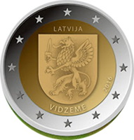 Región de Vidzeme en 2 euros de Letonia