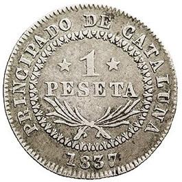 """1 Peseta 1836-1837 Barcelona. La peseta de los """"Peseteros"""""""