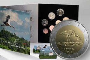 El nido de la cigüeña en 2 euros de Letonia