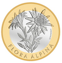 Edelweiss en 10 francos suizos bimetálicos