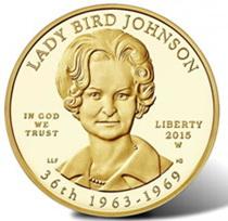 """La 36 """"Primera Dama"""" de la Casa Blanca (1963-1969) en 10 dólares oro"""