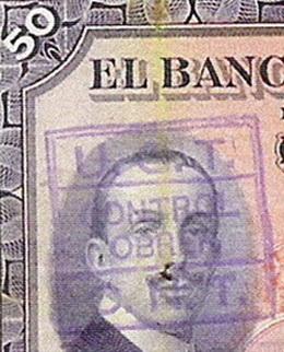 Billetes sellados para validar su circulación durante la República