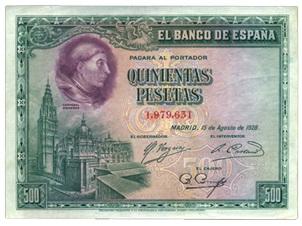 Cardenal Cisneros en el billete de 500 pesetas de 1928