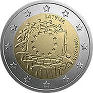 30 Años de bandera de la Unión Europea para Letonia
