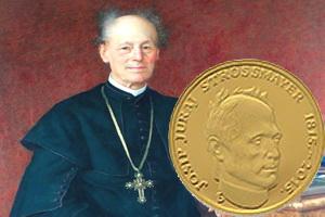 El obispo croata Josip Turaj Strossmayer en 20 y 200 kuna de oro y plata