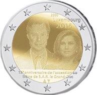2 Euros para el 15 Aniversario del acceso al trono de Gran Duque Henri de Luxemburgo