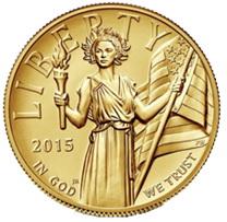 """Los 100 dólares """"American Liberty"""" 2015 en alto relieve"""