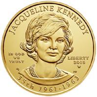 """La 35 """"Primera Dama"""" de Estados Unidos Jacqueline Kennedy en media onza oro"""