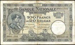 Bélgica 100 francos 1927 vs. 100 francos/20 belgas 1932
