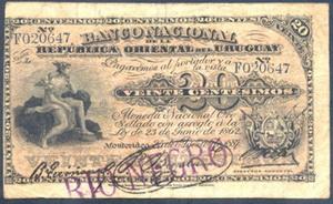 Uruguay, 20 centésimos de 1887 del Banco Nacional de la República Vs. resello Río Negro