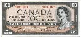 """Canadá 100 Dólares de 1954 """"Devil's Face Hair"""" (Cara del diablo en el pelo)"""
