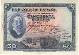 Alfonso XIII y el Palacio Real en el billete de 50 pesetas de 1927