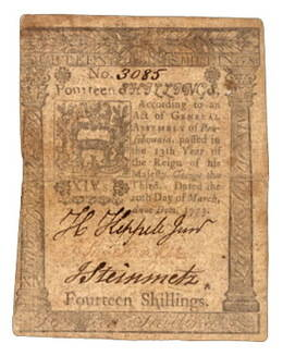 Asentamiento de Pensylvania 14 Shillings 1773