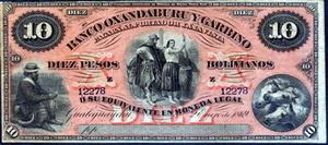 Argentina: 10 pesos bolivianos de 1869