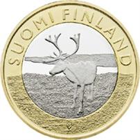 La Laponia finesa y sus renos en 5 euros bimetálicos