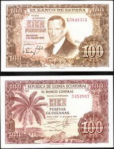 España 100 pesetas 1953 Vs. Guinea Española 100 pesetas guineanas 1969