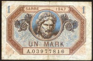 Saar / Sarre Protectorado francés 1 Marco 1947