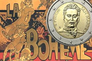 Giacomo Puccini 2 euros para recordar el 90 Aniversario de su muerte