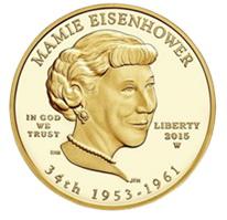 """Mamie Eisenhower """"Primera Dama"""" de Estados Unidos (1953-1961) en 10$ oro"""
