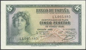 "Billete de 5 pesetas de 1935 serie ""L"", última emitida"