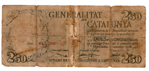 2,50 Pesetas Generalitat de Catalunya