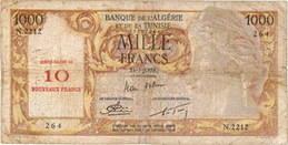 Argelia 1.000 francos 1957 vs. 1.000 Francos-10NF 1958 vs. 10NF 1960