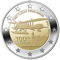 Centenario del primer vuelo desde Malta (1915-2015) en 2 euros conmemorativos