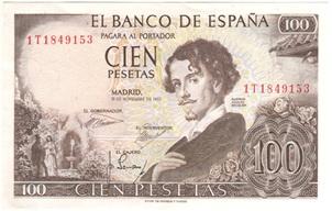 100 pesetas de 1965 serie 1T, última emitida
