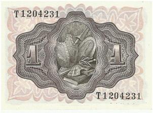 """Billete de 1 peseta del 19 de Noviembre del año 1951, serie """"T"""" última emitida"""