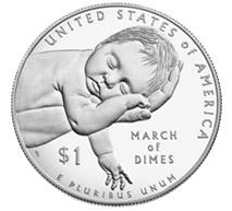 """La Fundación """"March of Dimes"""" contra la polio en un dólar plata"""