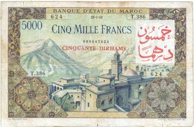 Marruecos colonial 5.000 Francos 1953 vs. 5.000 Francos sobreimpresión 50 Dirhans 1959